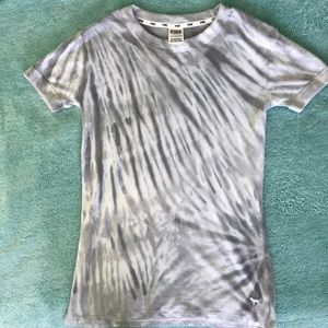VS PINK Tie-Dye Soft T-Shirt Gray/White